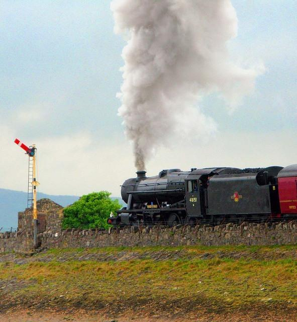2010  Arnside  Steam Special 8F  Going past the signal