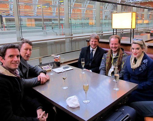 2013 04 02 With friends at St Pancras champagne bar