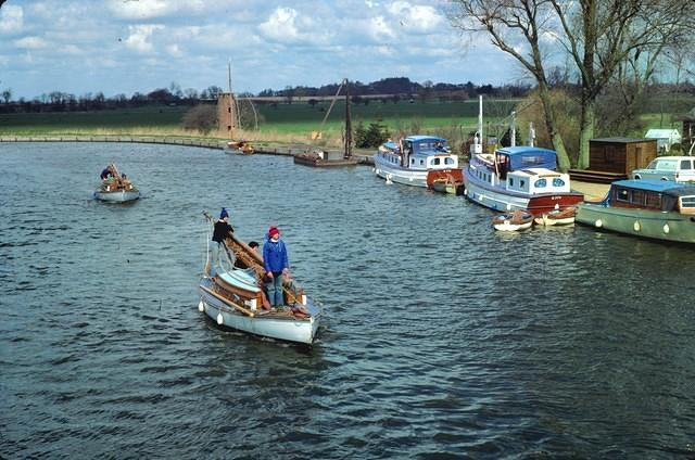 1978  Approaching Ludham Bridge:  Mistress and Highness taking on water
