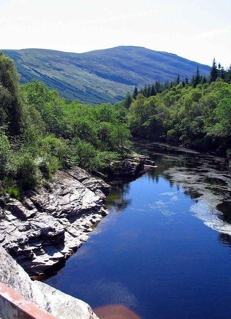 07 08 22  Glen Orchy Eas Urchaidh downstream [Orchy falls] with Beinn na Sroine [2087' pointed hill].jpg