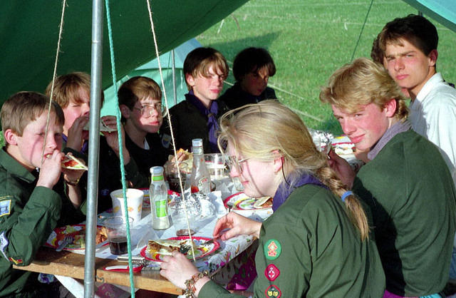 1992 Debbie dining with Falcons and Kestrels.JPG