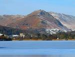 2012 02 07 Grasmere frozen with Allan Bank and Helm Crag