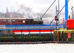2014 02 15 Preston Docks Bagnall 0-6-0 Courageous crossing the lift bridge