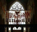 Churches  Cartmel Priory Pentecostal Banner and E window.jpg