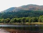 07 08 23  12.30 pm  Loch Lubnaig [meandering lake]  Fisherman  Canoe and Ben Ledi [2880'].jpg