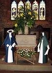 2005/12  Cartmel Priory:  Mary and Joseph  - Dorothy's flower arrangement.jpg